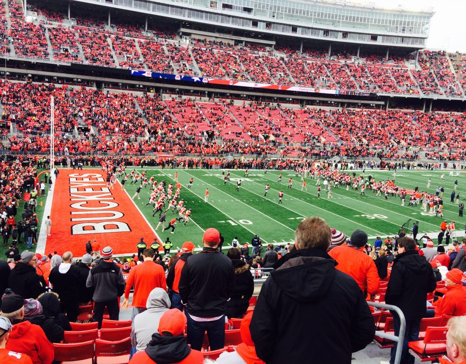 Stadium shot of an OSU football game
