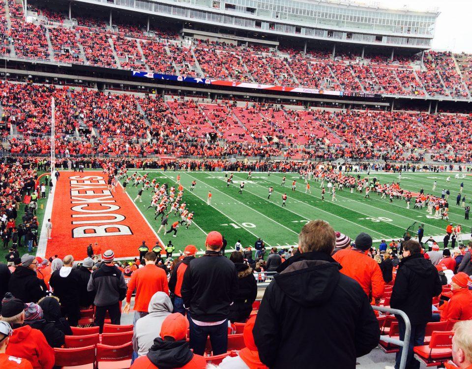 Stadium shot of an OSU football game