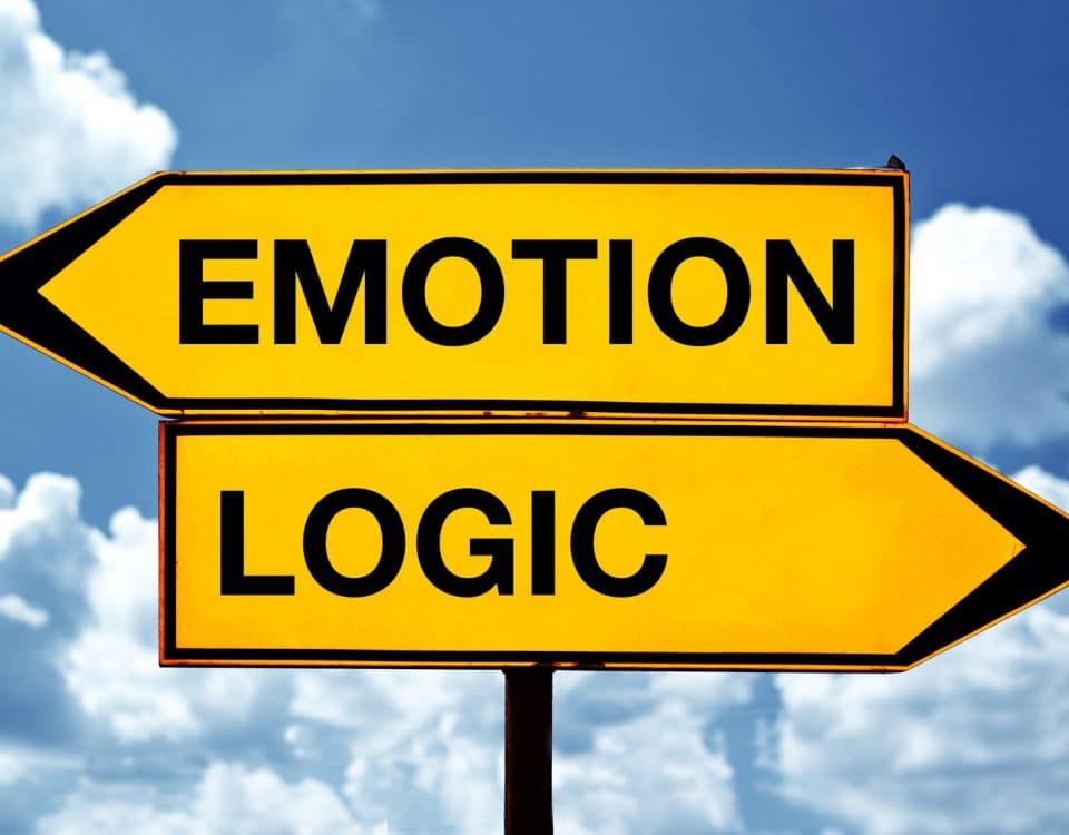Impostor Syndrome background emotion vs logic sign