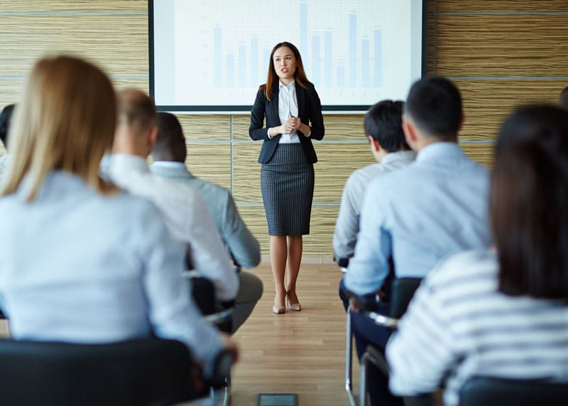 woman giving a professional presentation