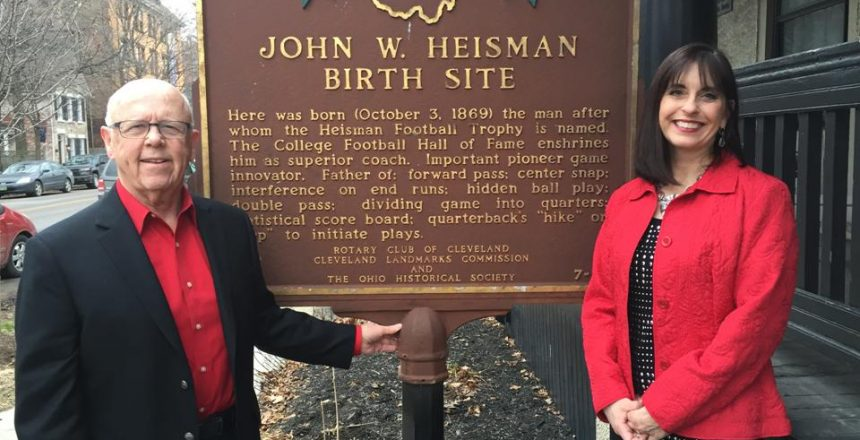 Maureen standing outside Heisman house for Ohio State football